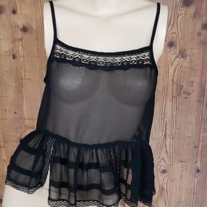 Free People black sheer lace crop tank size small